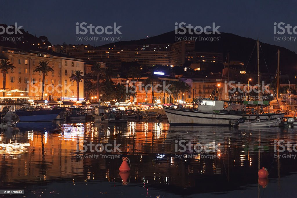 Pleasure yachts and boats moored in old port stock photo