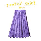 Pleated midi skirt. Hand drawn watercolor illustration.