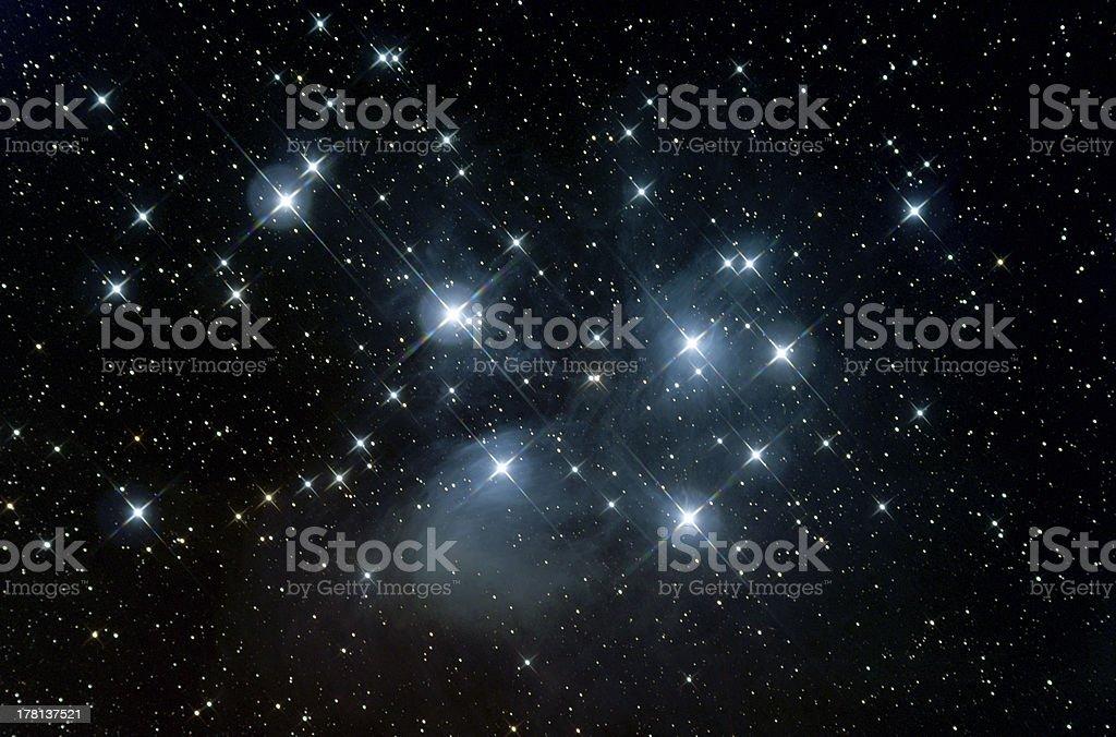 Pleiades, m45 stock photo