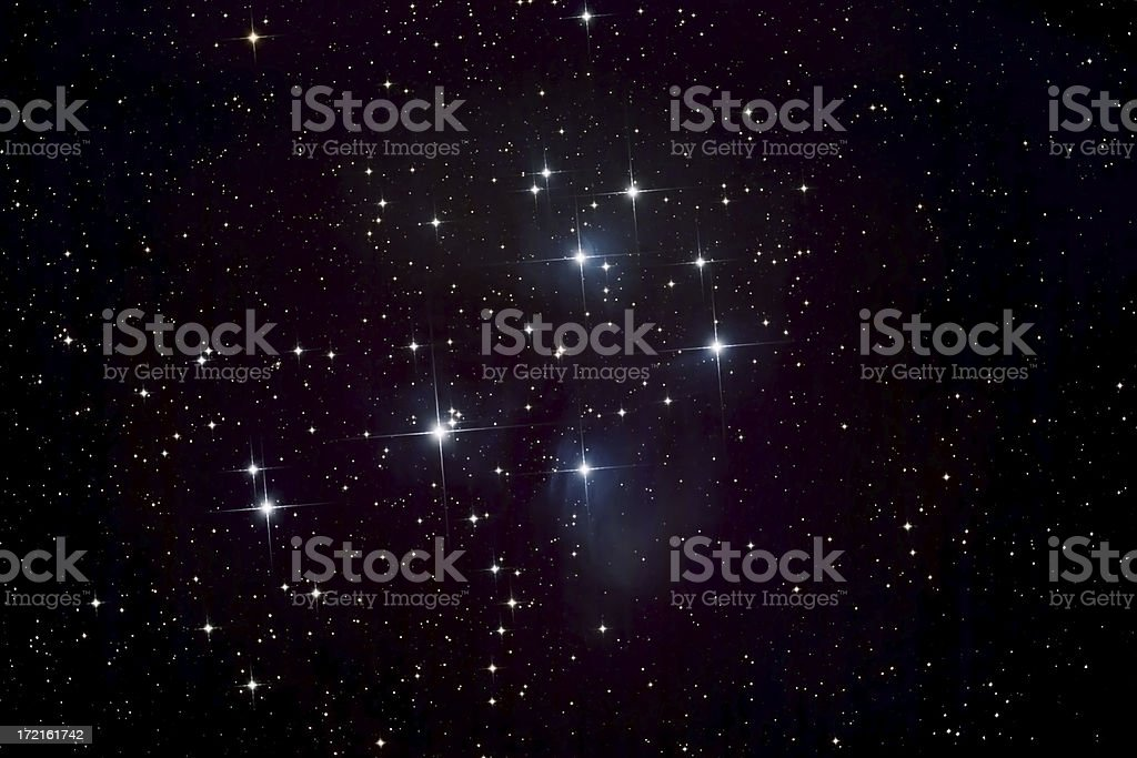 Pleiades Star Cluster and Nebula stock photo