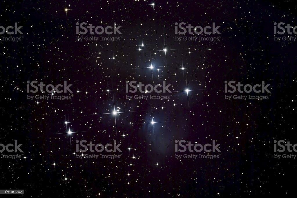 Pleiades Star Cluster and Nebula stock photo