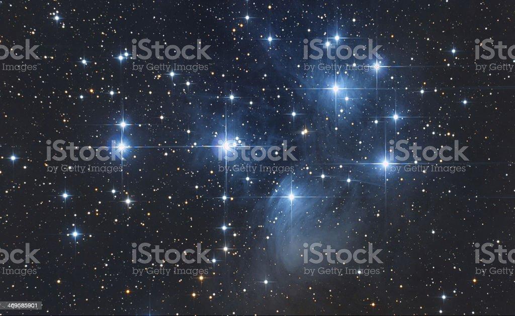 Pleiadi Asterism in Taurus constellation stock photo