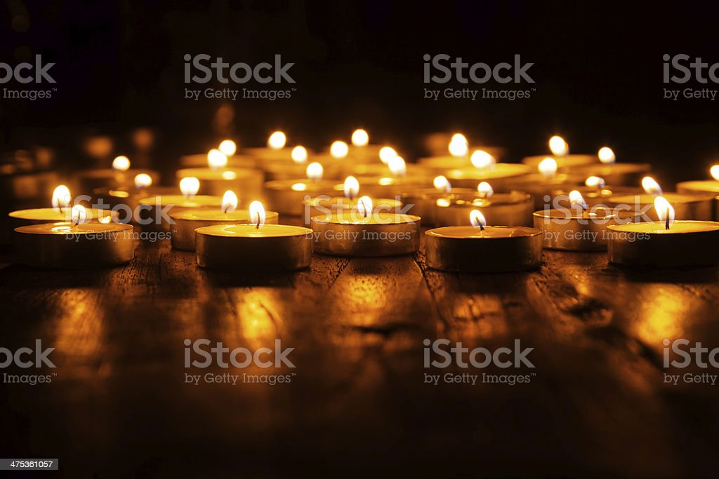 plenty of candlelights stock photo
