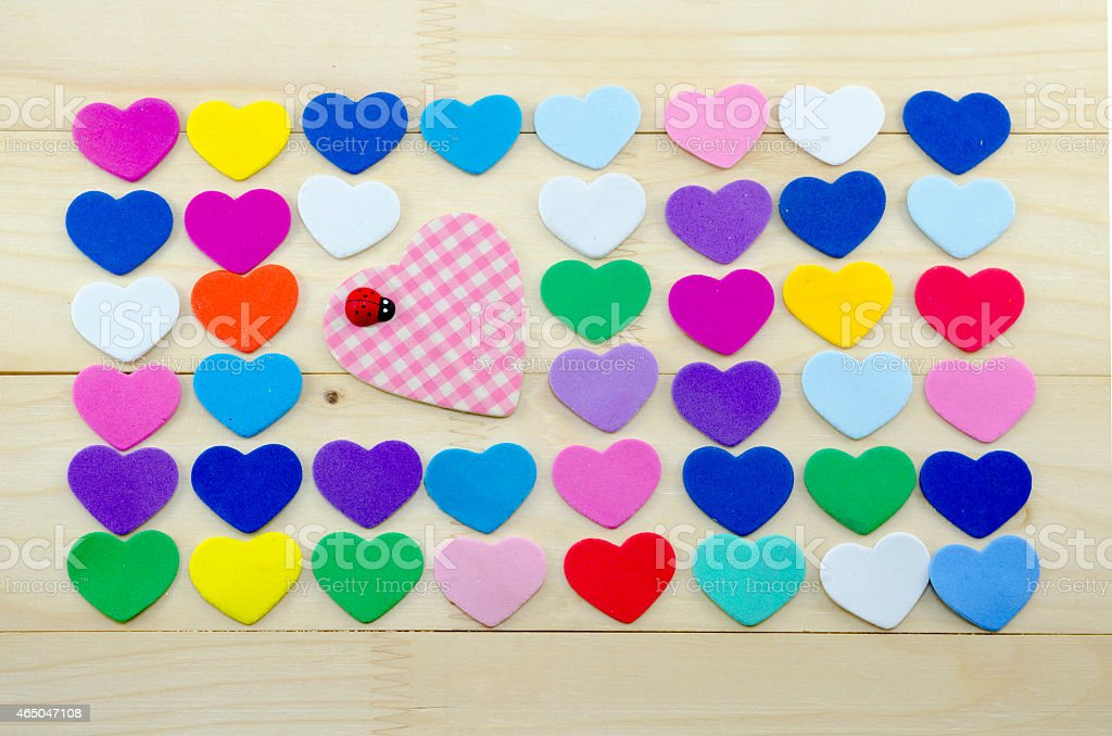 Plenty of colorful hearts on a desk royalty-free stock photo