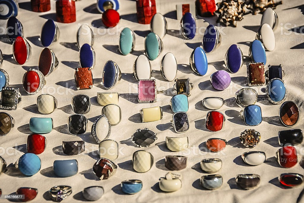 Plethora of Fashion Rings for Sale stock photo