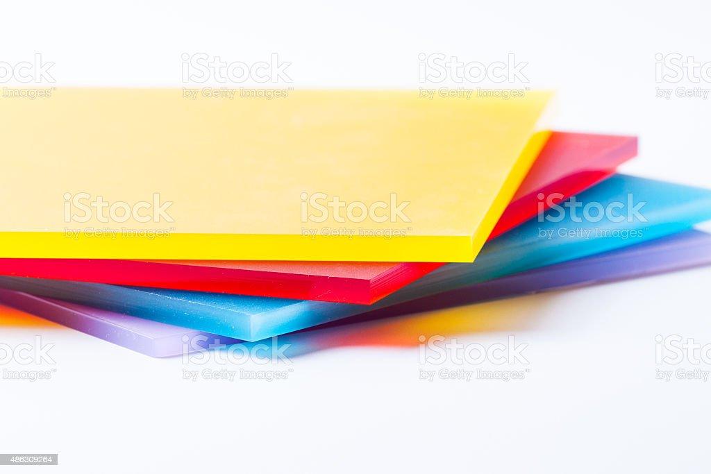 Plexiglass sheets colored stock photo