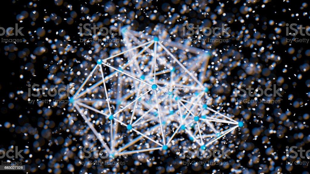 Plexus effect, 3D rendering stock photo