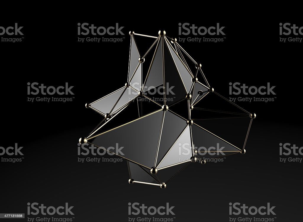Plexus style abstract model stock photo