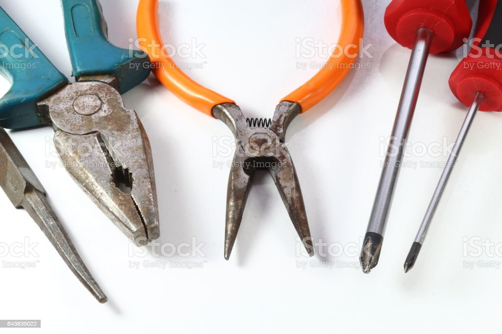 Pliers and screwdriver images. stock photo