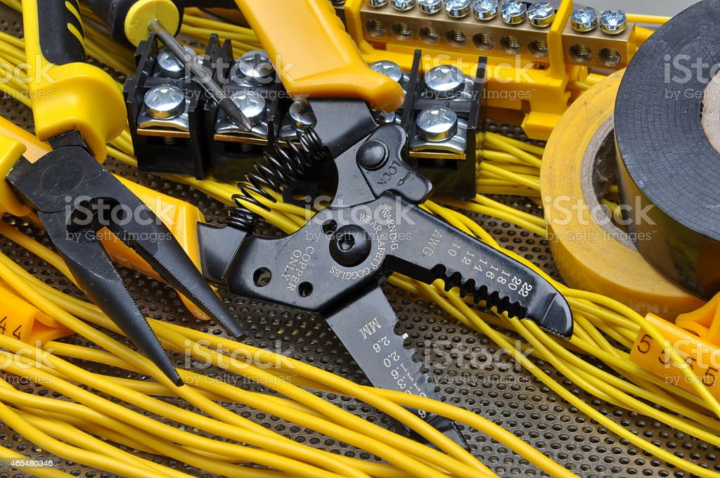 Pliers strippers with electrical component kit stock photo
