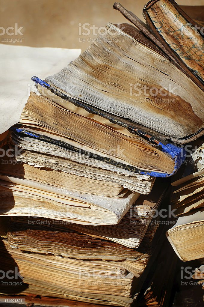 Plile of old books - 2 royalty-free stock photo
