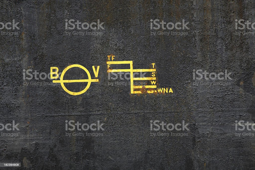 Plimsoll line markings on the side of a large ship. stock photo
