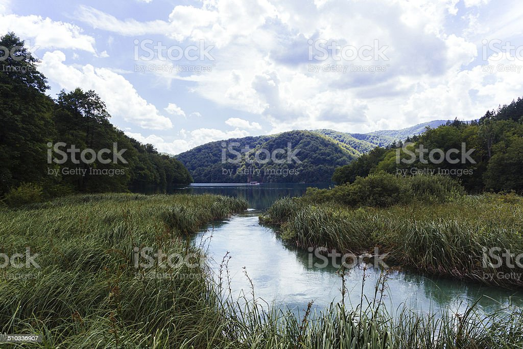 Plitvice Lakes Panorama royalty-free stock photo