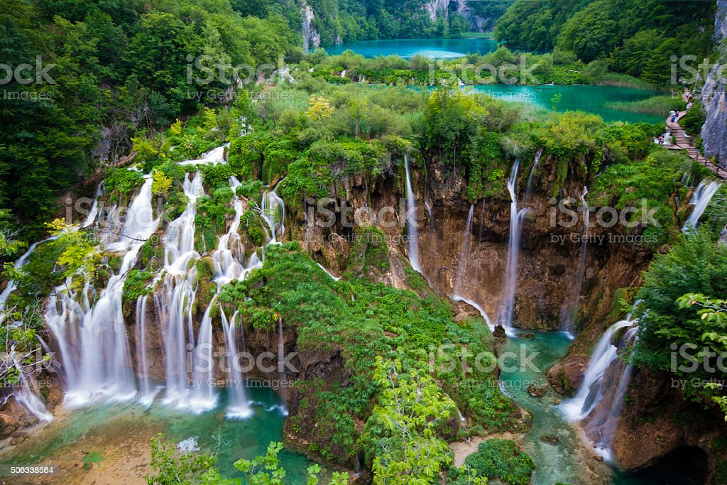 Plitvice Main Waterfalls Spring stock photo