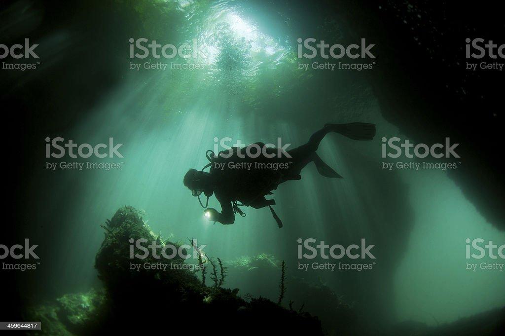 Plongeur en riviere Irian Jaya, Le Passage stock photo