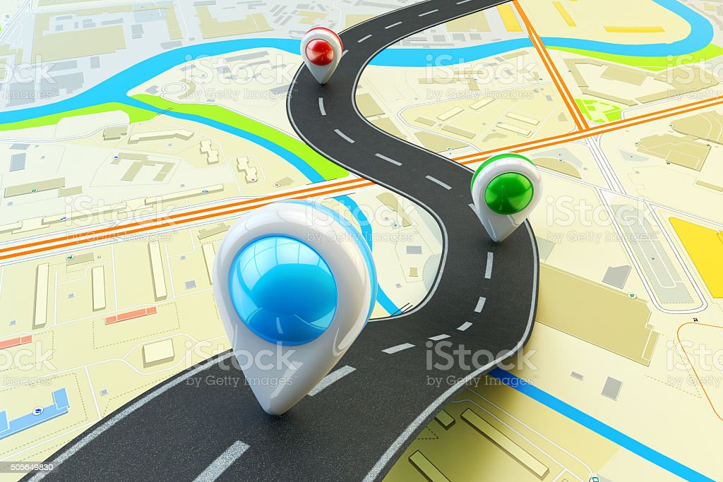 Plot a trip route, travel destination and navigation concept stock photo