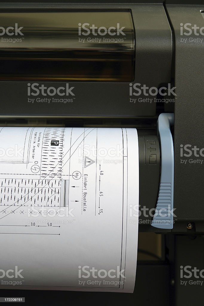 Plotter detail / plotting some plans. stock photo