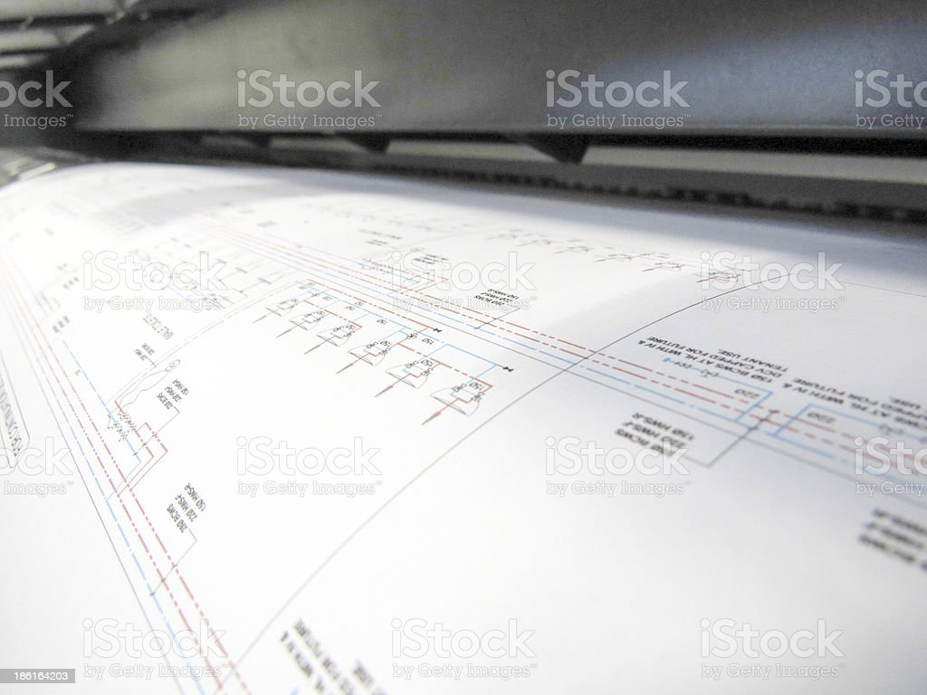 Plotter Plotting CAD Drawing stock photo