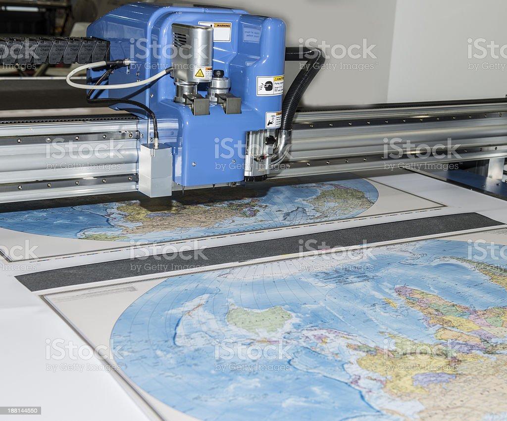 Plotter plotting some map stock photo