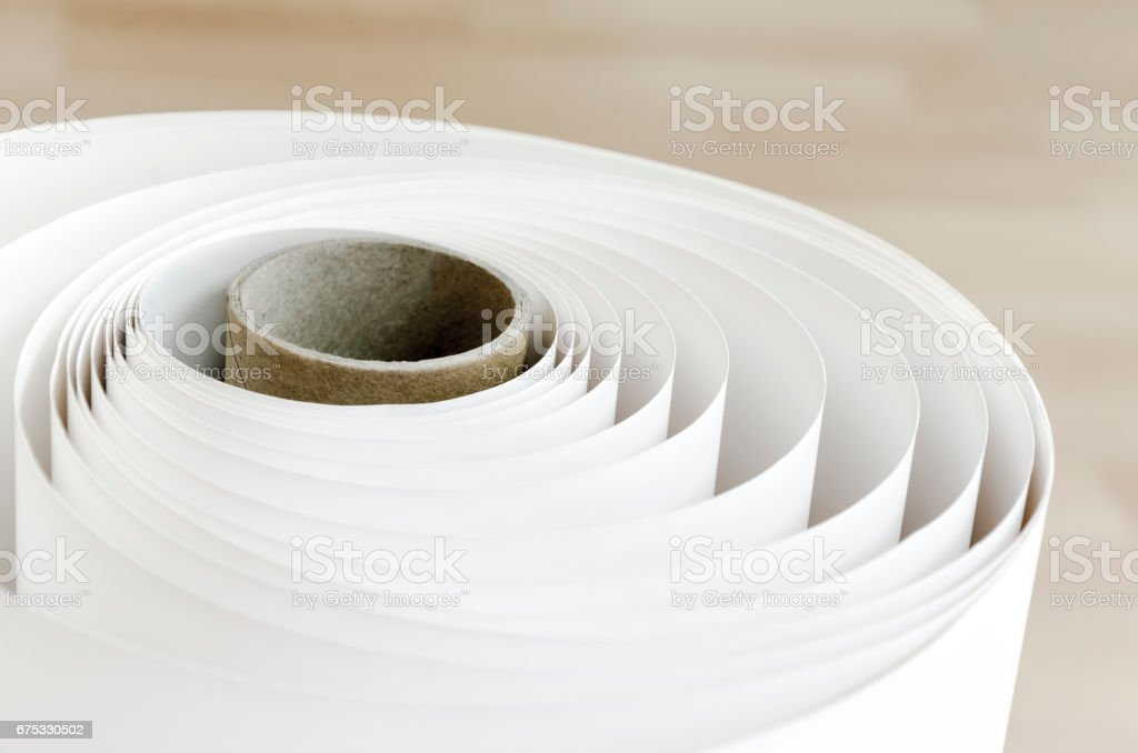 Plotter Roll paper curl stock photo