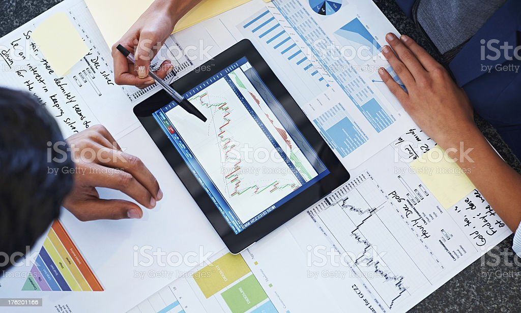 Plotting their progress thus far... royalty-free stock photo