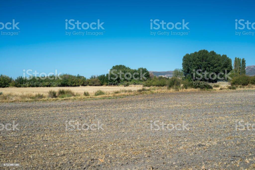 Ploughed fields in La Mancha, Spain stock photo