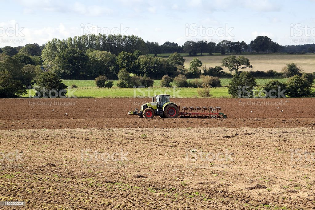 Ploughing a Norfolk field royalty-free stock photo