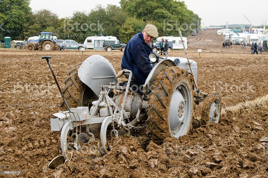 Ploughing Championship - Vintage Tractor stock photo