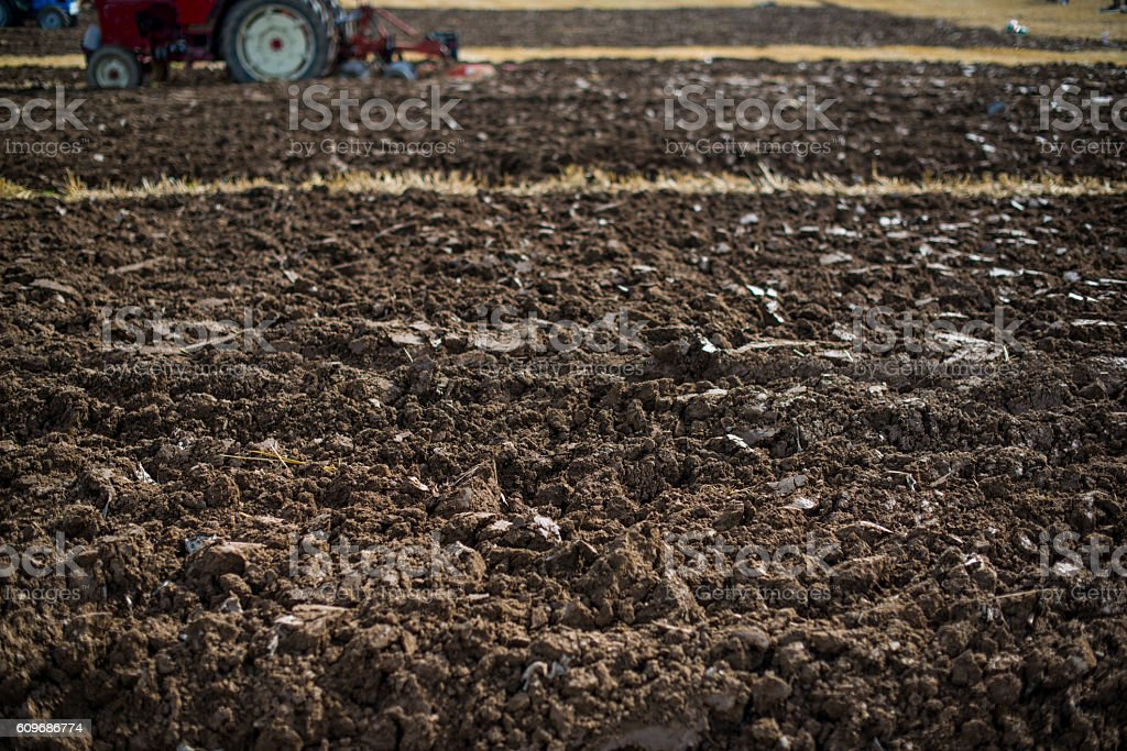 ploughing in autumn stock photo