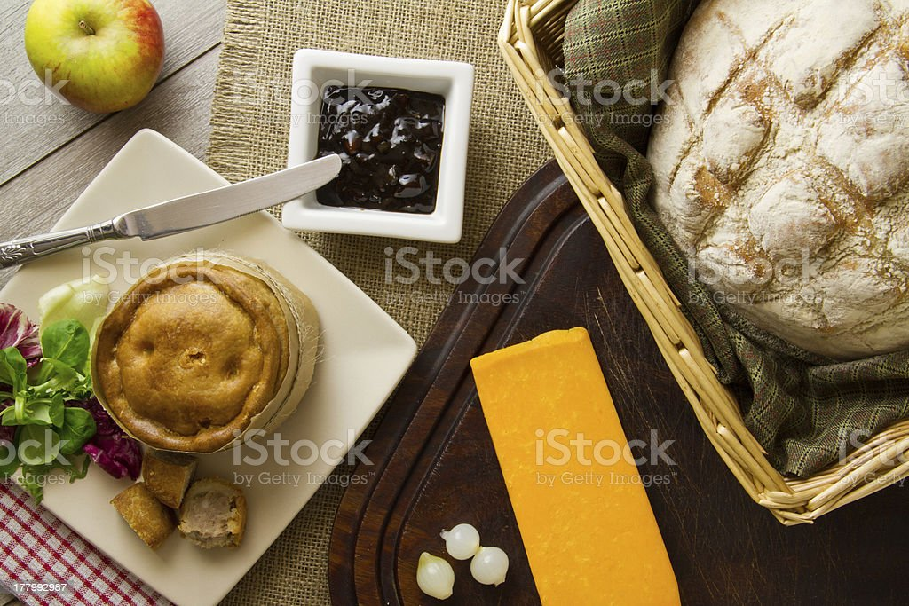 Ploughman's Lunch Spread overhead stock photo