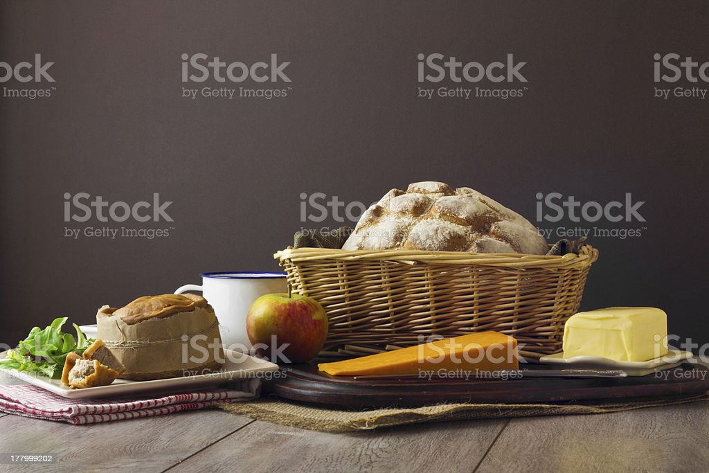 Ploughman's Lunch Spread stock photo