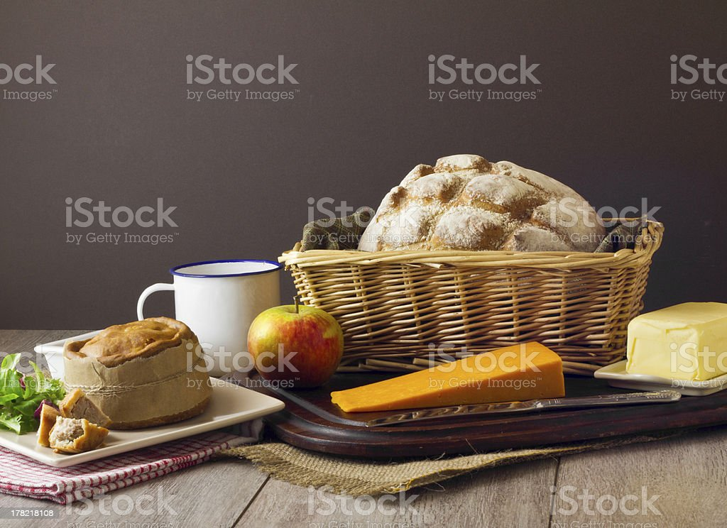Ploughman's Lunch Spread tight stock photo