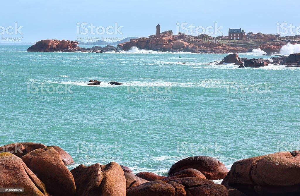 Ploumanach coast view (Brittany, France) stock photo