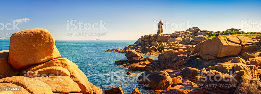Ploumanach lighthouse in pink granite coast, Brittany, France. stock photo