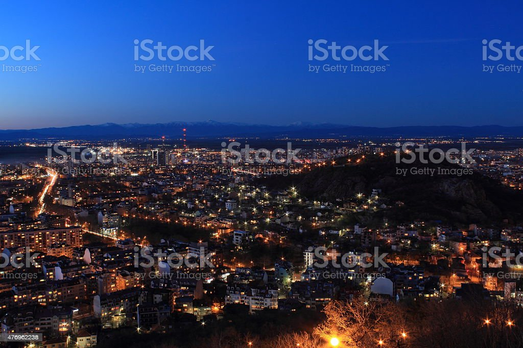 Plovdiv after sunset - Bulgaria royalty-free stock photo