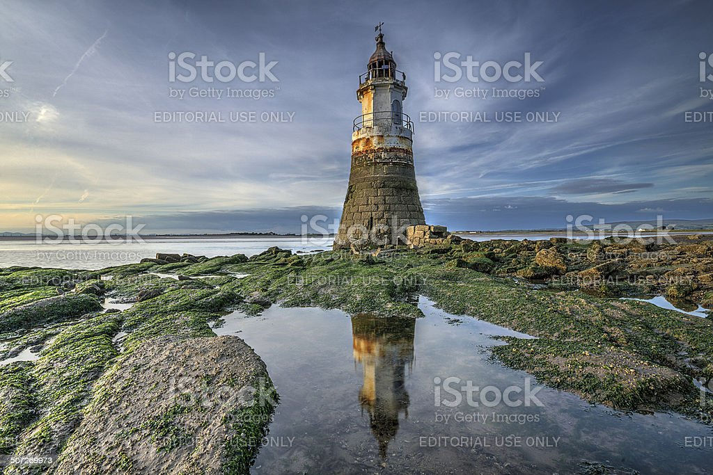 Plover Scar Lighthouse, Near Glasson Dock stock photo