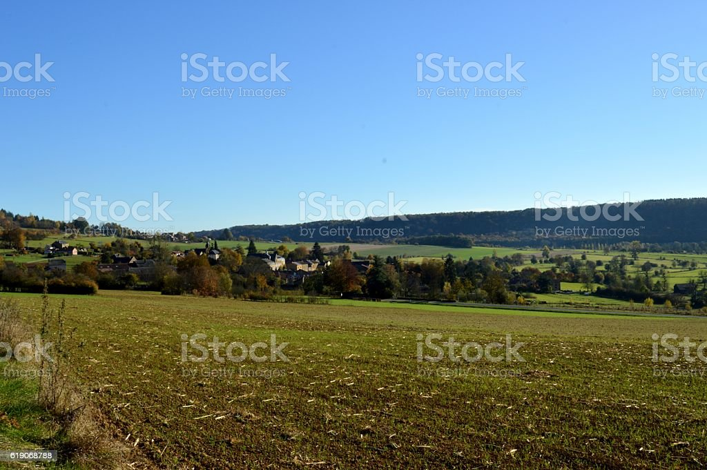 Plow fields with a background stock photo