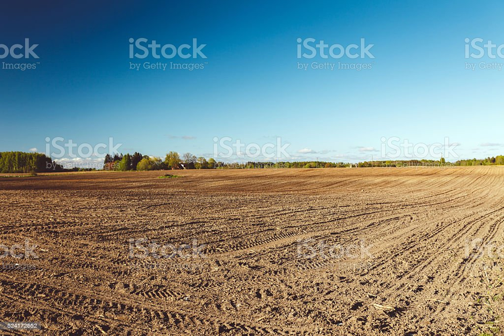 Plowed Farm Field stock photo