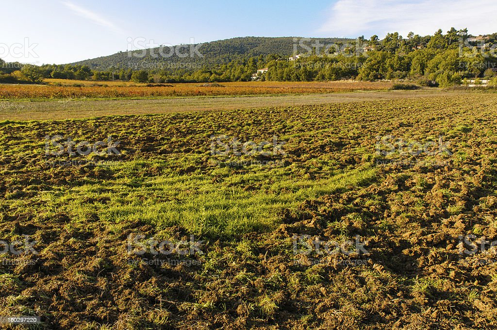Plowed field in Provence (South of France) stock photo