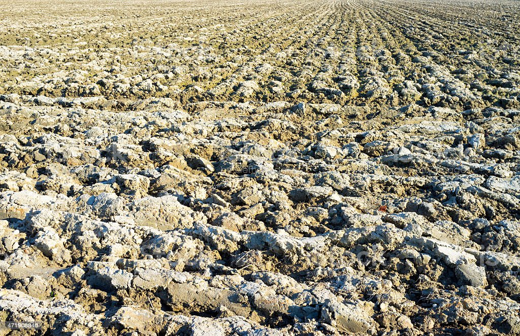 Plowed field in springtime. Color image stock photo
