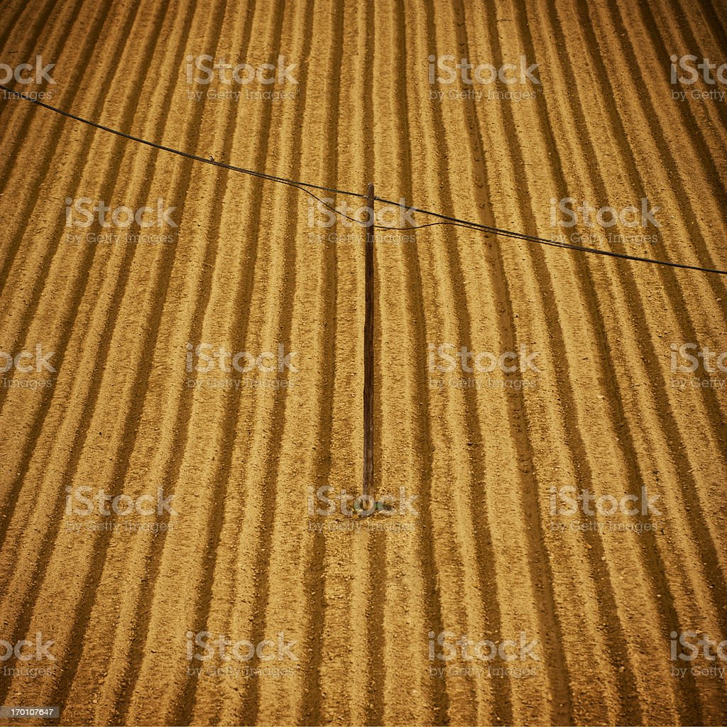 Plowed field with electricity cables crossing it royalty-free stock photo