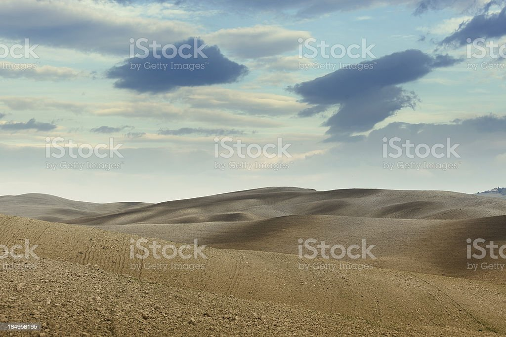 plowed fields in Tuscany royalty-free stock photo