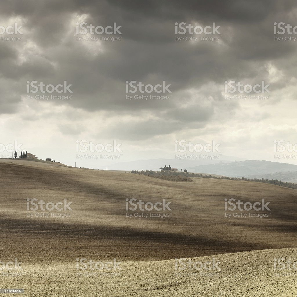 plowed fields royalty-free stock photo
