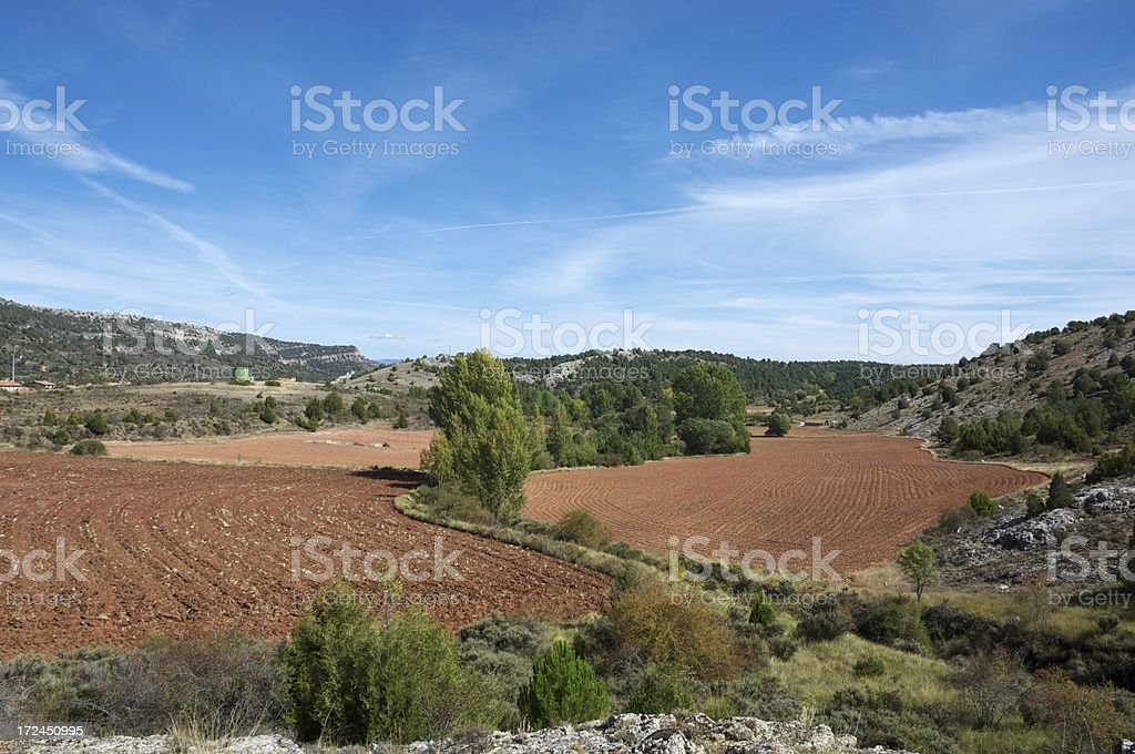 Plowed fields stock photo