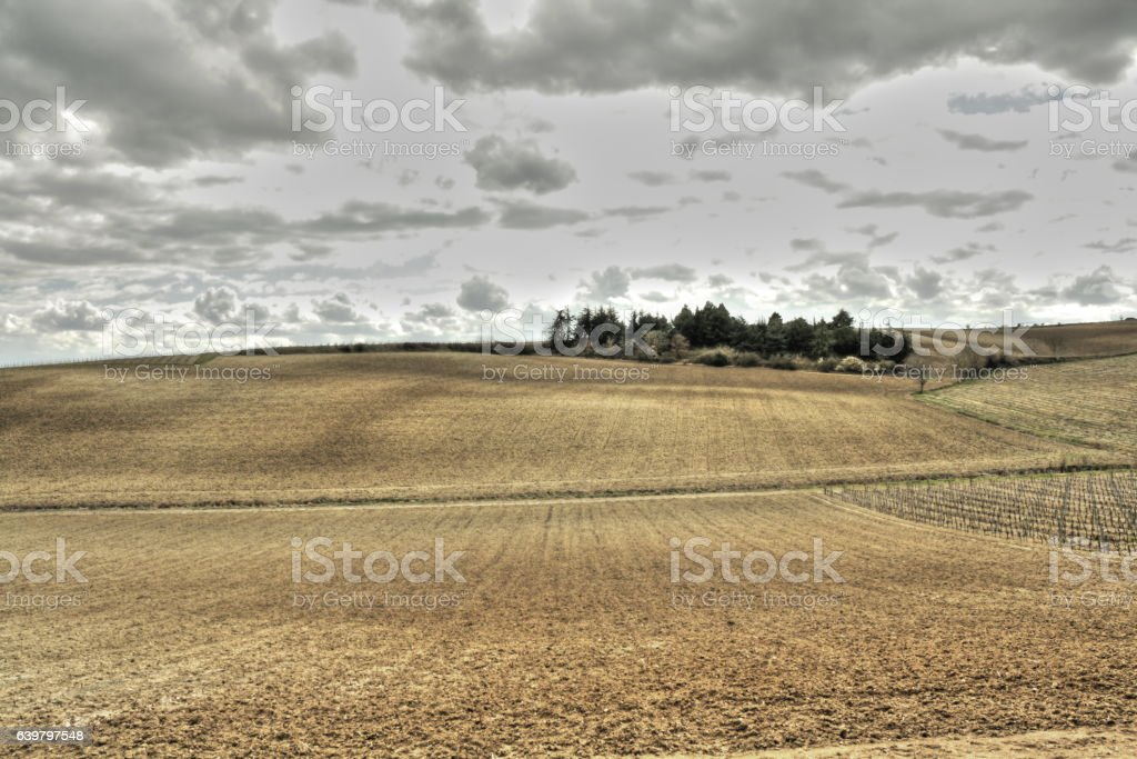 Plowed land in Aude,France stock photo