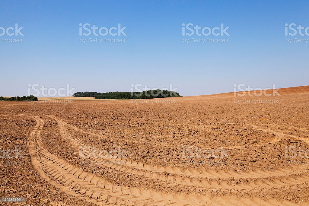 plowed land, summer stock photo