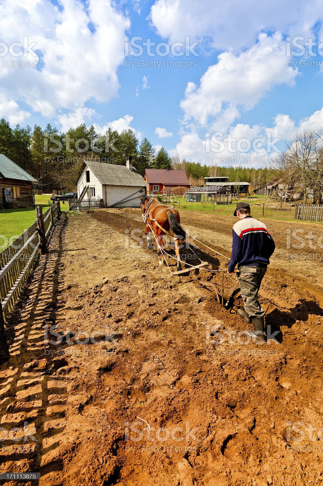 Plowing the field royalty-free stock photo