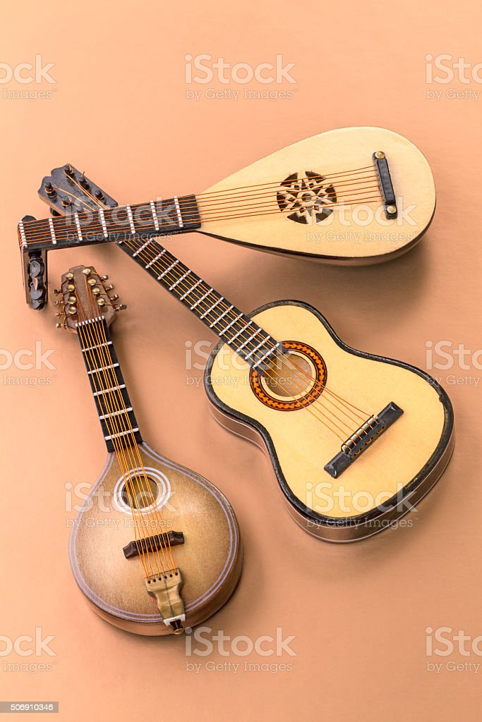 Plucked string instruments stock photo