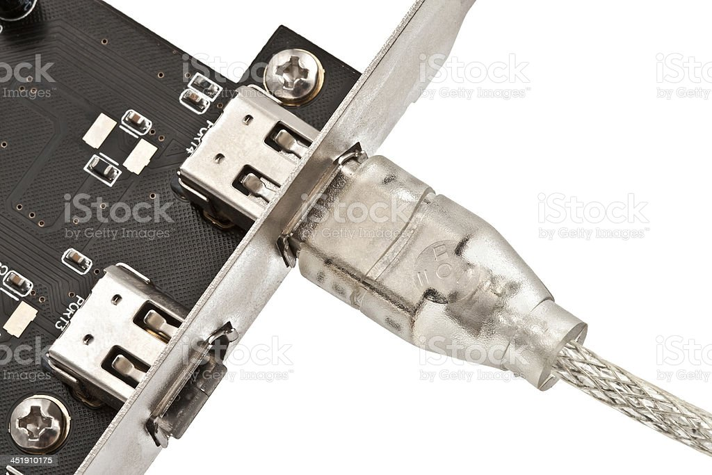 IEEE 1394 plug & socket stock photo