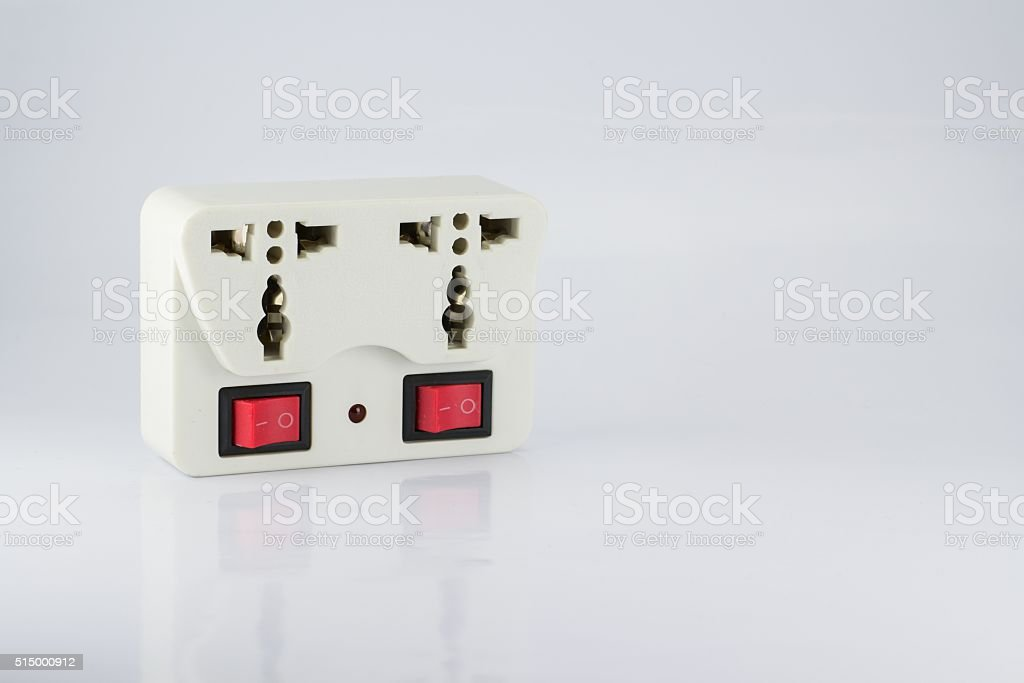 plug socket with switch on/off stock photo